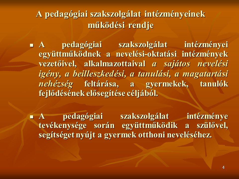 A pedagógiai szakszolgálat intézményeinek működési rendje
