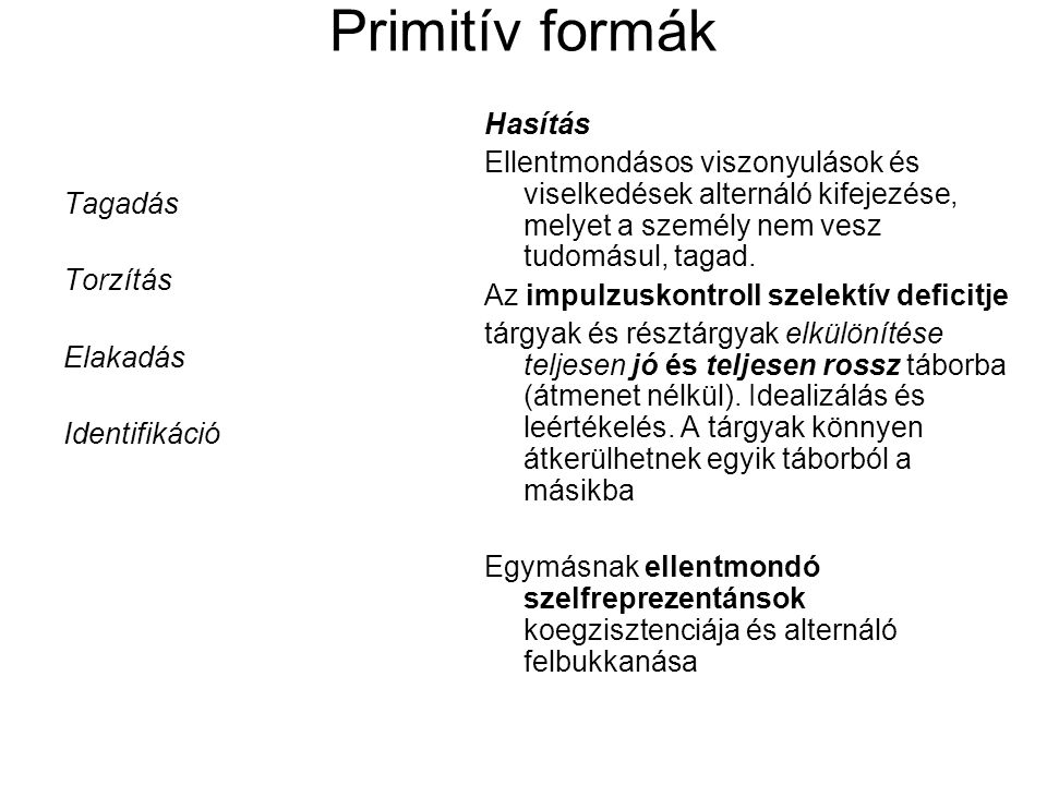 Primitív formák Hasítás
