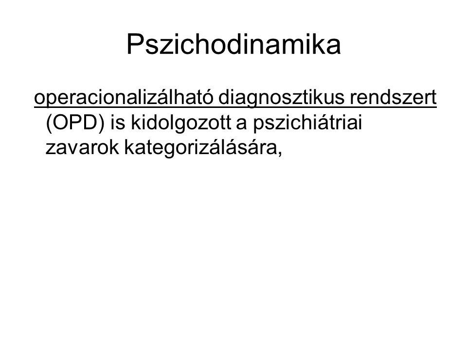 Pszichodinamika operacionalizálható diagnosztikus rendszert (OPD) is kidolgozott a pszichiátriai zavarok kategorizálására,