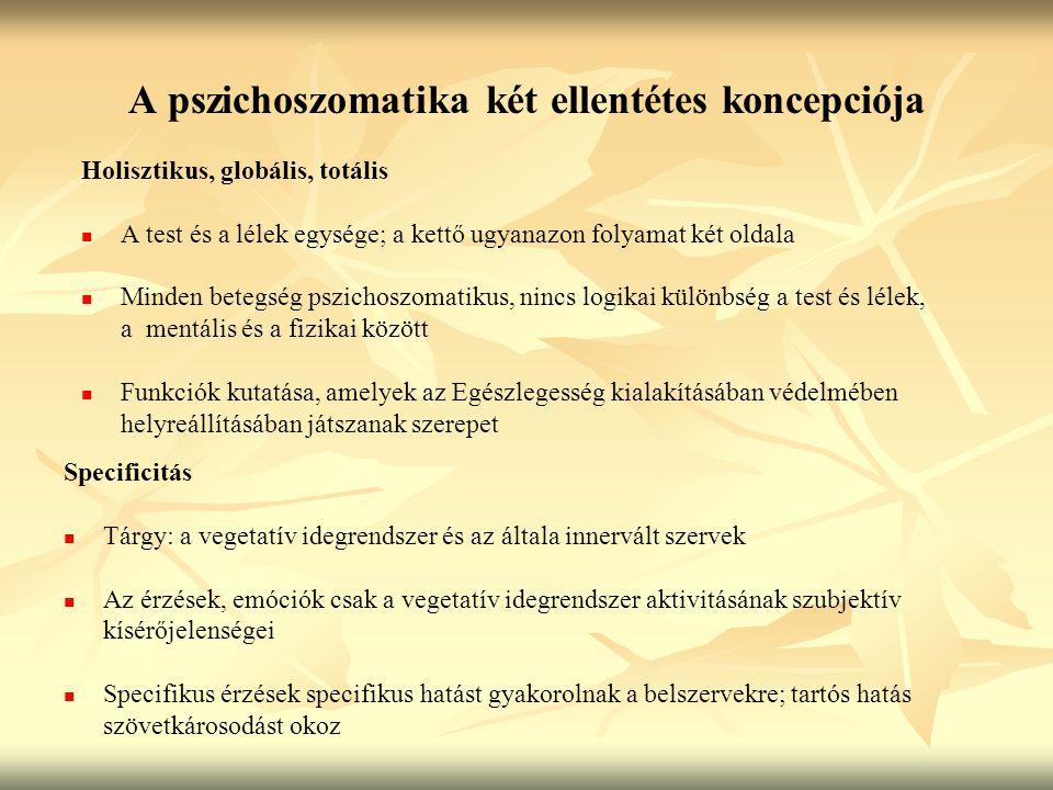 A pszichoszomatika két ellentétes koncepciója