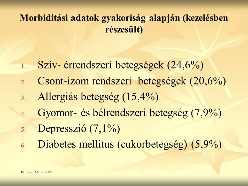 Morbiditási adatok gyakoriság alapján (kezelésben részesült)