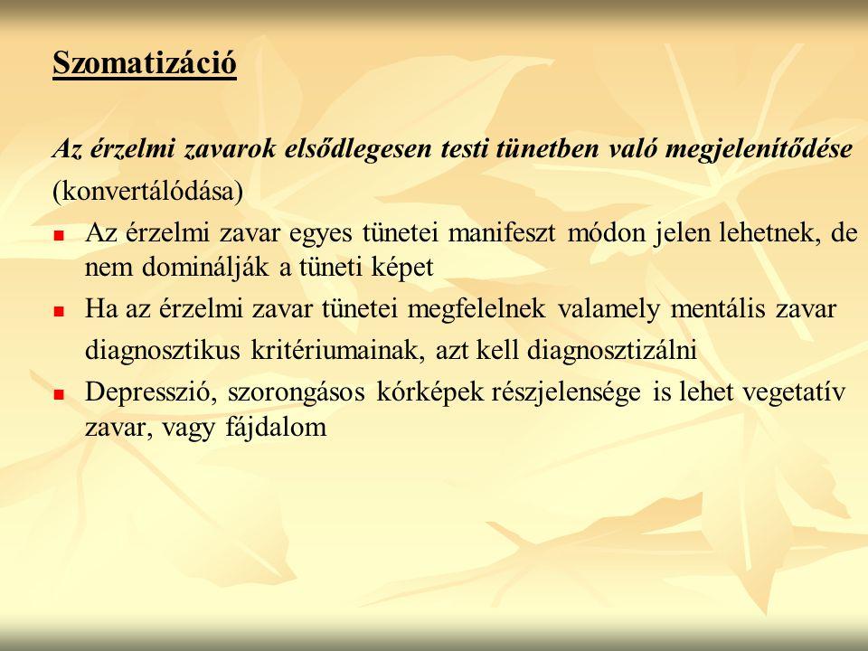 Szomatizáció Az érzelmi zavarok elsődlegesen testi tünetben való megjelenítődése. (konvertálódása)