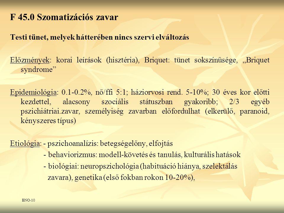 F 45.0 Szomatizációs zavar Testi tünet, melyek hátterében nincs szervi elváltozás.