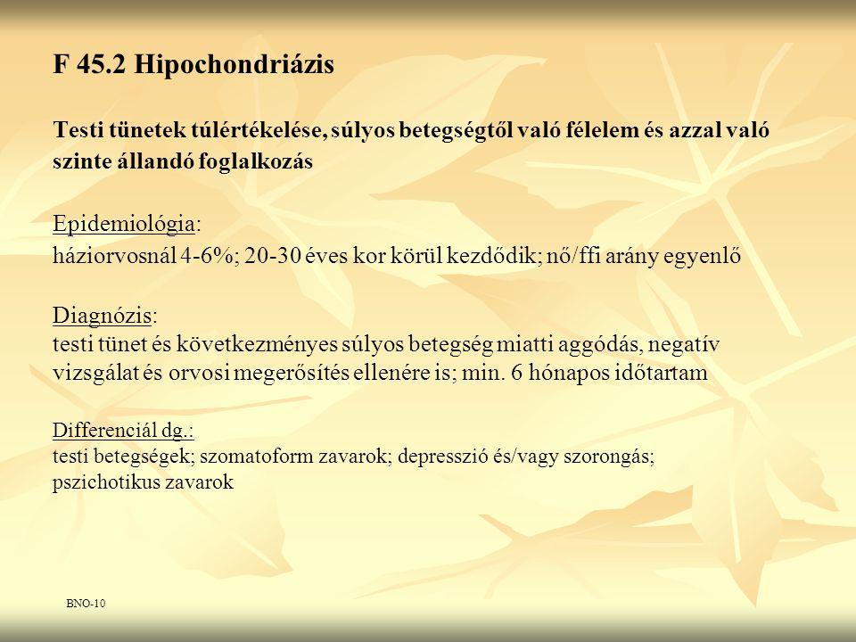F 45.2 Hipochondriázis Testi tünetek túlértékelése, súlyos betegségtől való félelem és azzal való. szinte állandó foglalkozás.