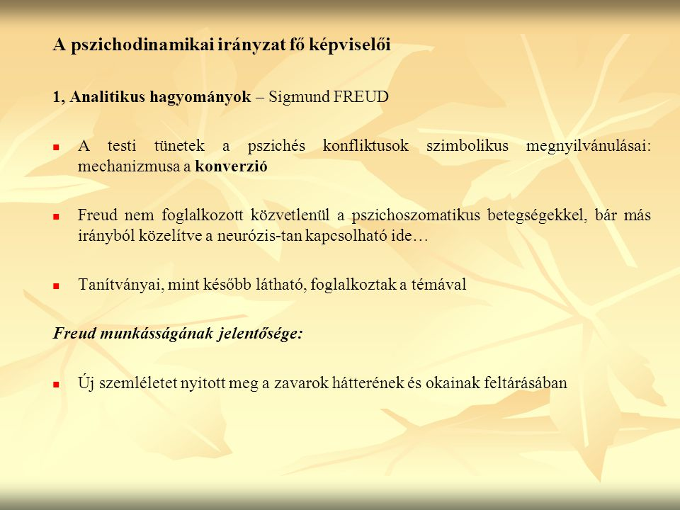 A pszichodinamikai irányzat fő képviselői