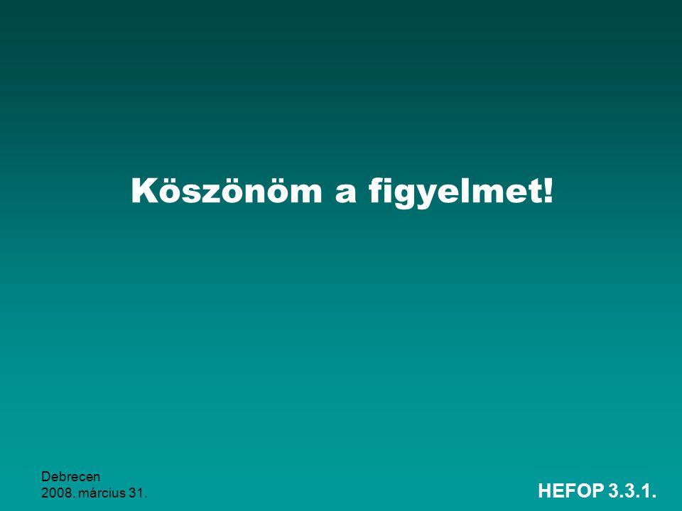 Köszönöm a figyelmet! Debrecen 2008. március 31. HEFOP 3.3.1.