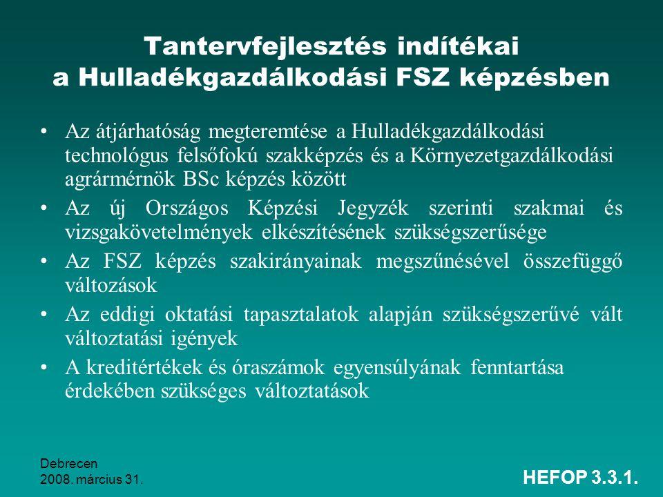 Tantervfejlesztés indítékai a Hulladékgazdálkodási FSZ képzésben
