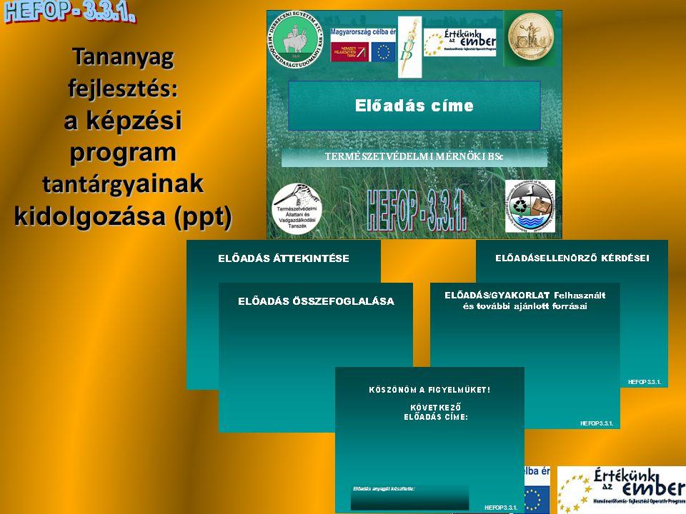 Tananyag fejlesztés: a képzési program tantárgyainak kidolgozása (ppt)