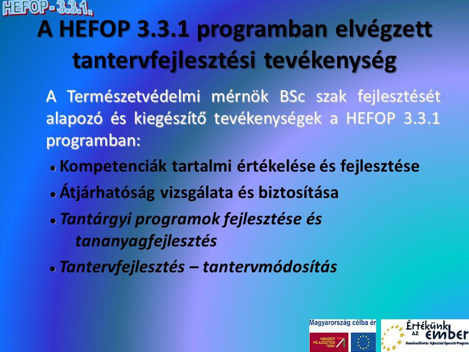 A HEFOP 3.3.1 programban elvégzett tantervfejlesztési tevékenység