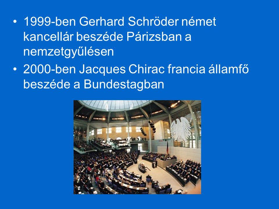 1999-ben Gerhard Schröder német kancellár beszéde Párizsban a nemzetgyűlésen