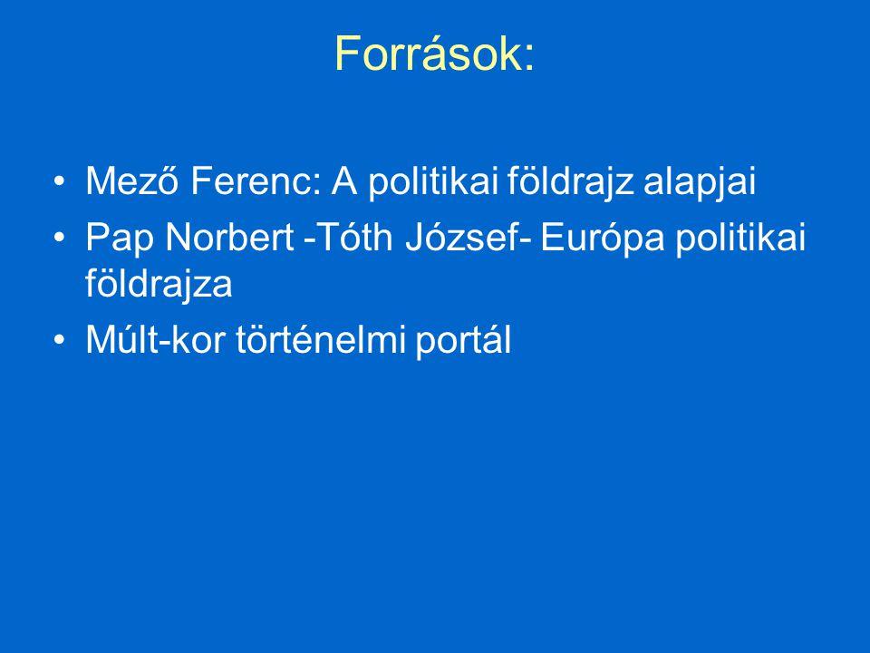 Források: Mező Ferenc: A politikai földrajz alapjai