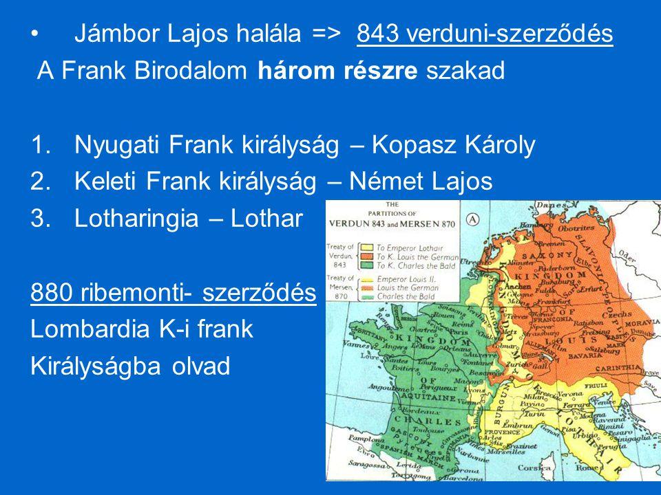 Jámbor Lajos halála => 843 verduni-szerződés