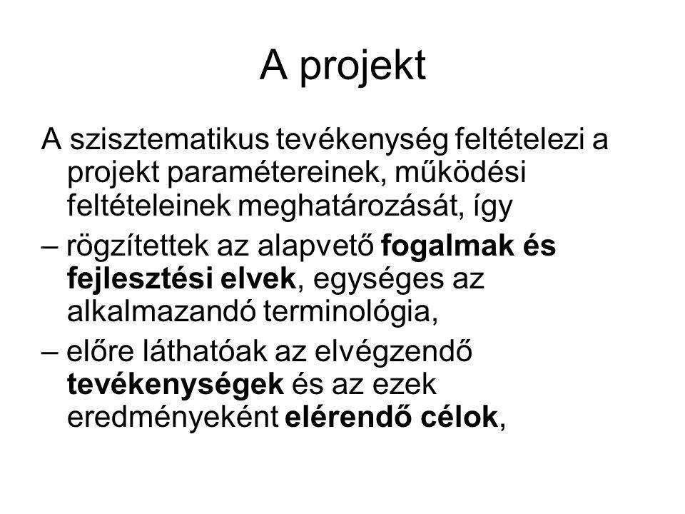 A projekt A szisztematikus tevékenység feltételezi a projekt paramétereinek, működési feltételeinek meghatározását, így.