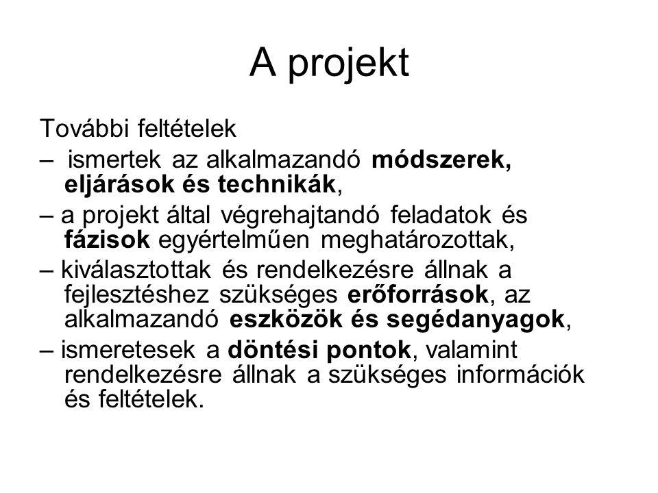 A projekt További feltételek