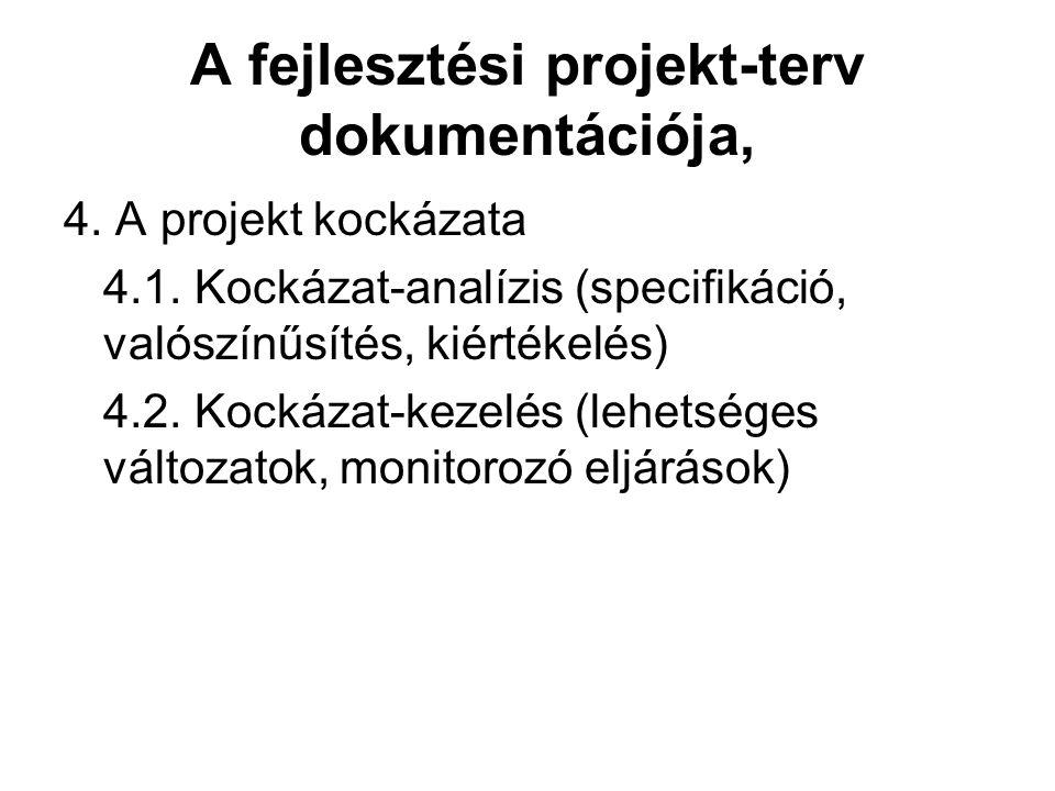 A fejlesztési projekt-terv dokumentációja,