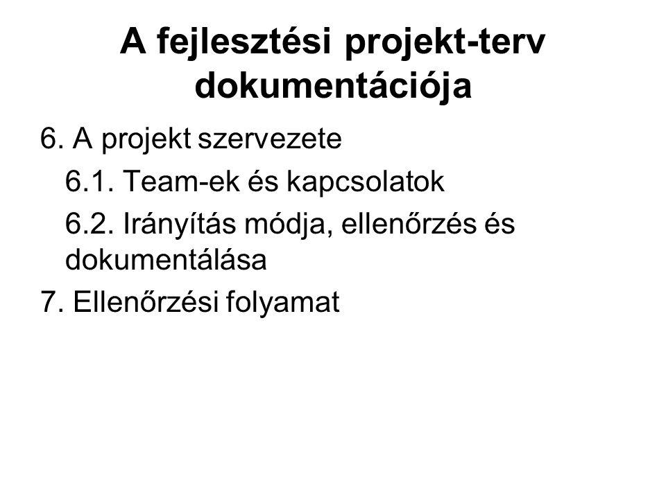 A fejlesztési projekt-terv dokumentációja
