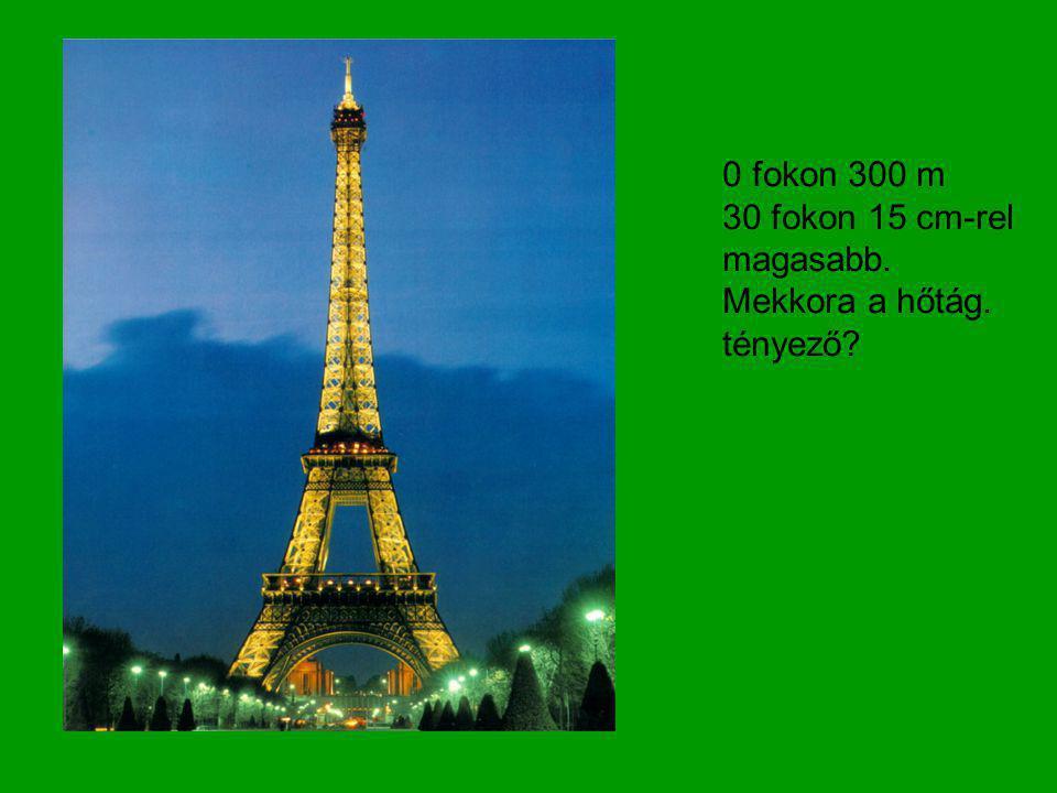 0 fokon 300 m 30 fokon 15 cm-rel magasabb. Mekkora a hőtág. tényező