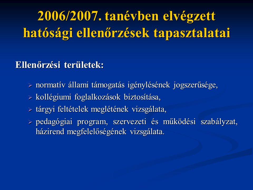 2006/2007. tanévben elvégzett hatósági ellenőrzések tapasztalatai