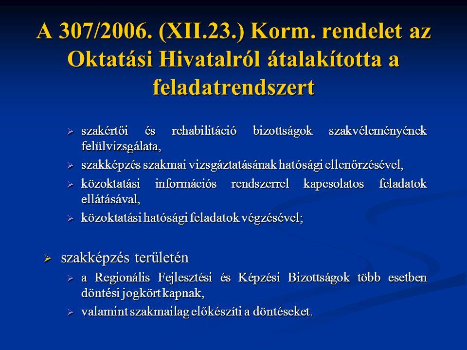A 307/2006. (XII.23.) Korm. rendelet az Oktatási Hivatalról átalakította a feladatrendszert