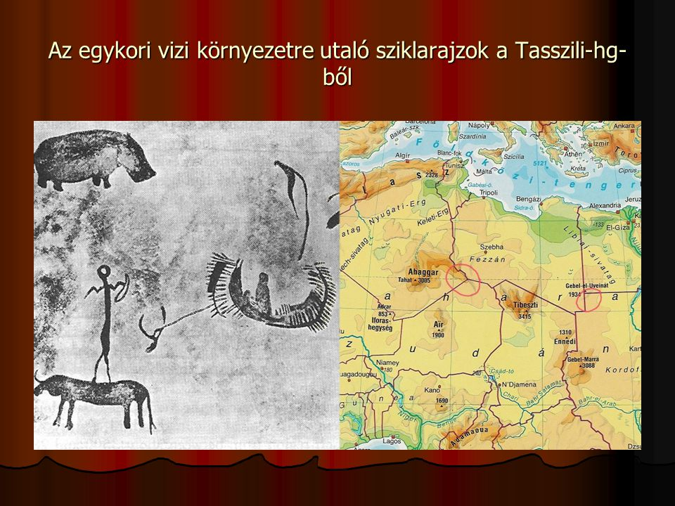 Az egykori vizi környezetre utaló sziklarajzok a Tasszili-hg-ből
