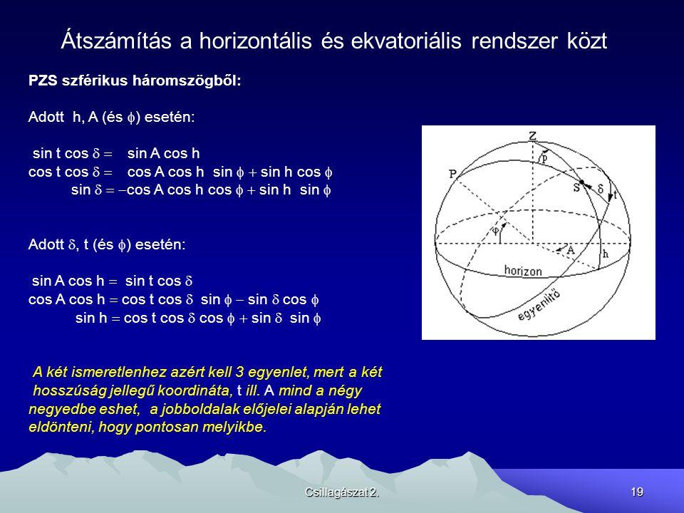 Átszámítás a horizontális és ekvatoriális rendszer közt