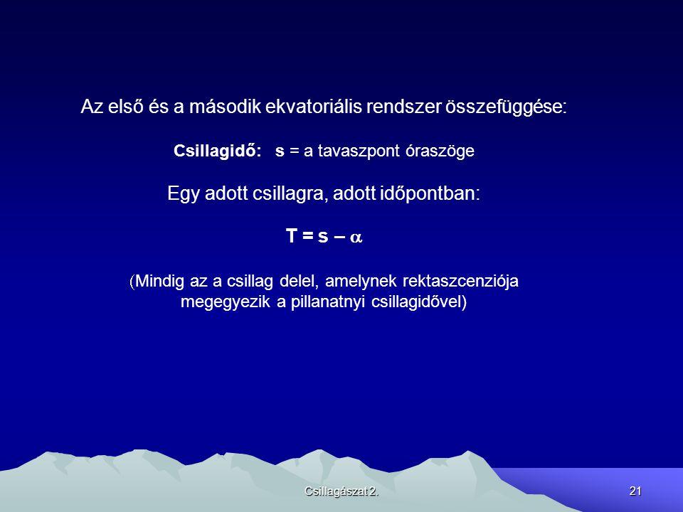 Az első és a második ekvatoriális rendszer összefüggése: