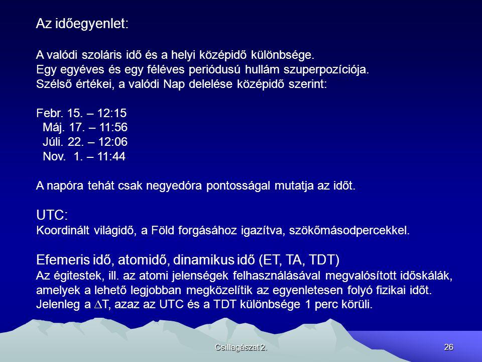 Efemeris idő, atomidő, dinamikus idő (ET, TA, TDT)