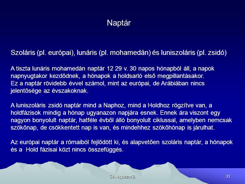 Naptár Szoláris (pl. európai), lunáris (pl. mohamedán) és luniszoláris (pl. zsidó)