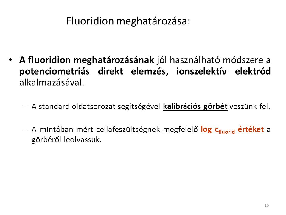 Fluoridion meghatározása: