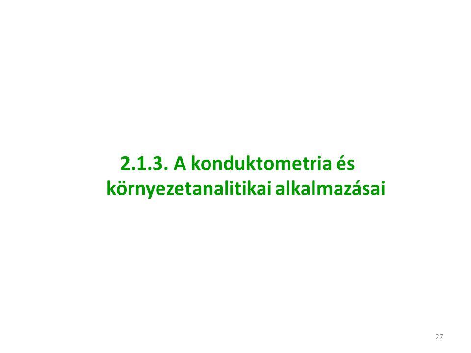 2.1.3. A konduktometria és környezetanalitikai alkalmazásai