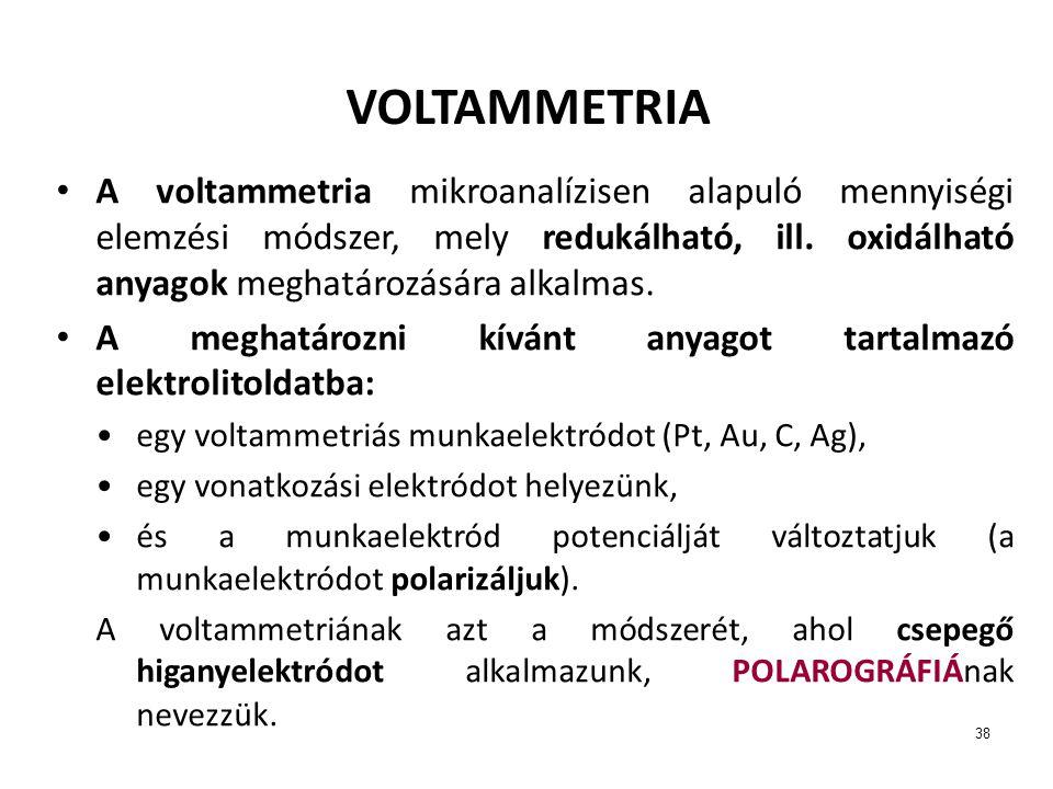 VOLTAMMETRIA A voltammetria mikroanalízisen alapuló mennyiségi elemzési módszer, mely redukálható, ill. oxidálható anyagok meghatározására alkalmas.
