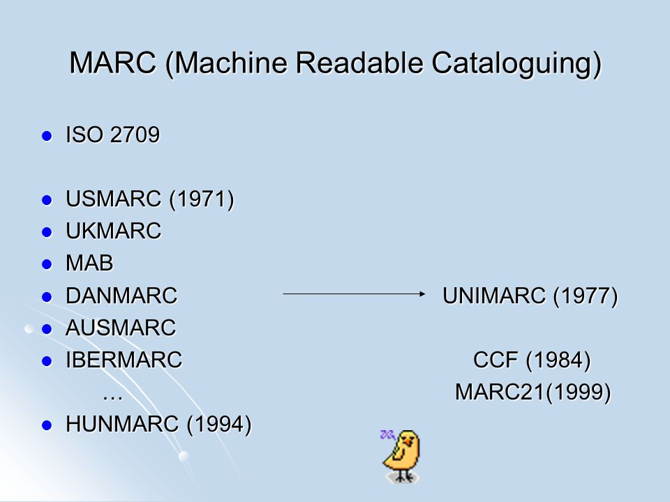 MARC (Machine Readable Cataloguing)