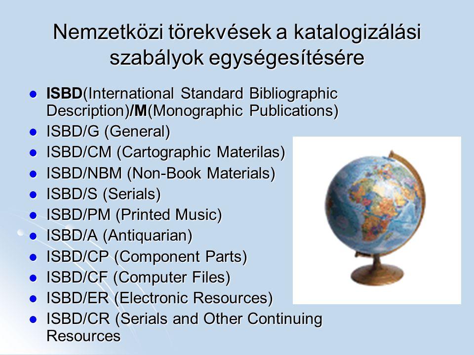 Nemzetközi törekvések a katalogizálási szabályok egységesítésére