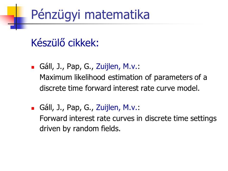 Pénzügyi matematika Készülő cikkek: Gáll, J., Pap, G., Zuijlen, M.v.: