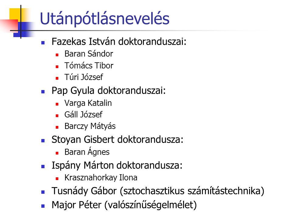 Utánpótlásnevelés Fazekas István doktoranduszai: