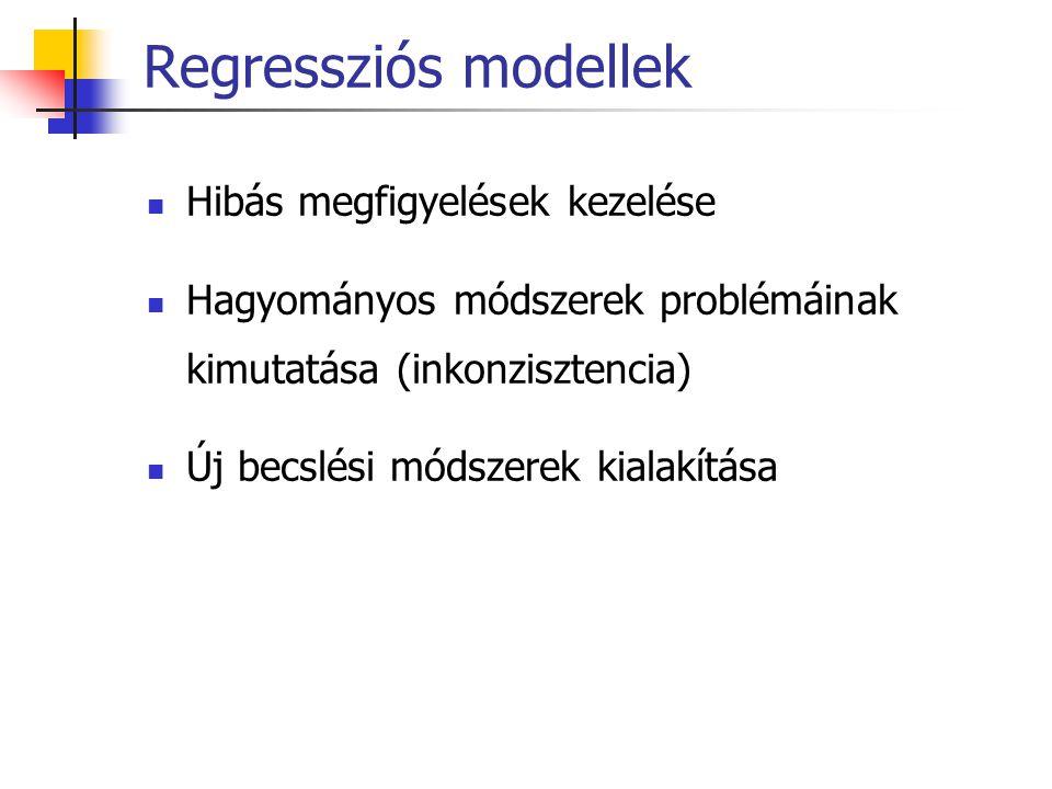 Regressziós modellek Hibás megfigyelések kezelése