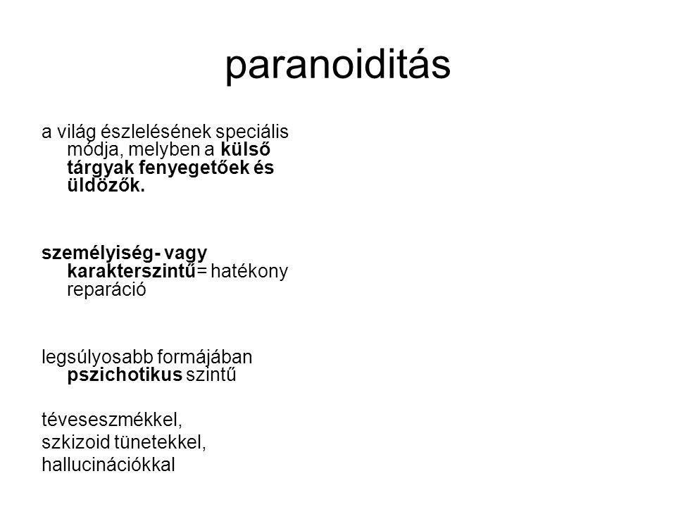 paranoiditás a világ észlelésének speciális módja, melyben a külső tárgyak fenyegetőek és üldözők.