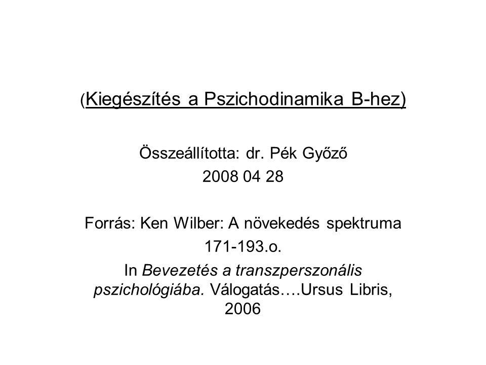 (Kiegészítés a Pszichodinamika B-hez)