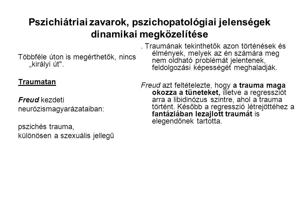 Pszichiátriai zavarok, pszichopatológiai jelenségek dinamikai megközelítése