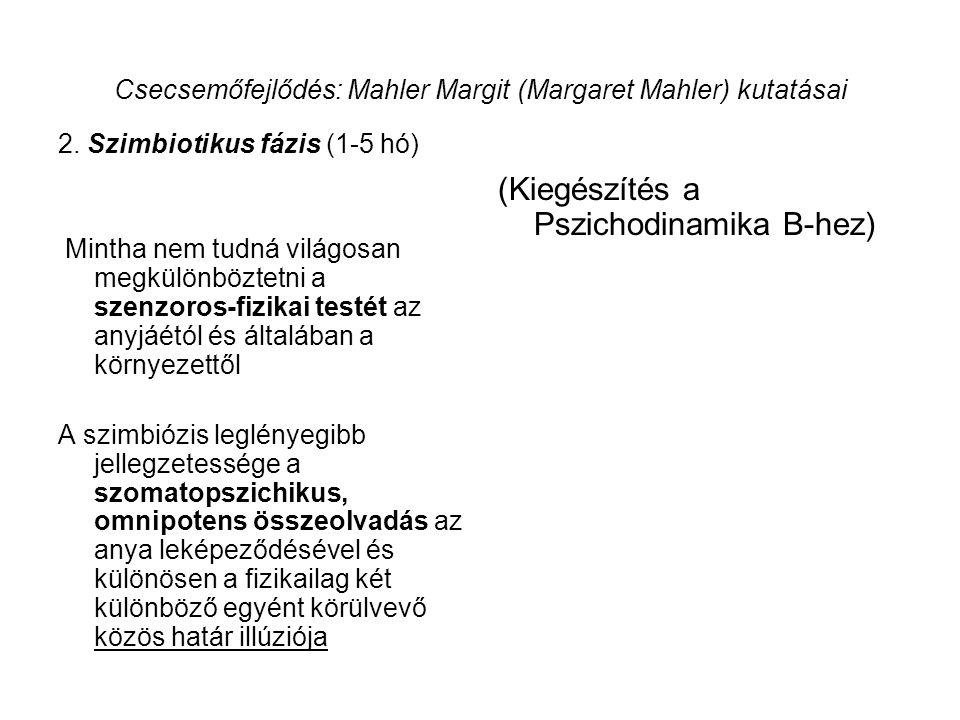Csecsemőfejlődés: Mahler Margit (Margaret Mahler) kutatásai