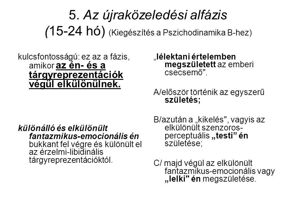 5. Az újraközeledési alfázis (15-24 hó) (Kiegészítés a Pszichodinamika B-hez)