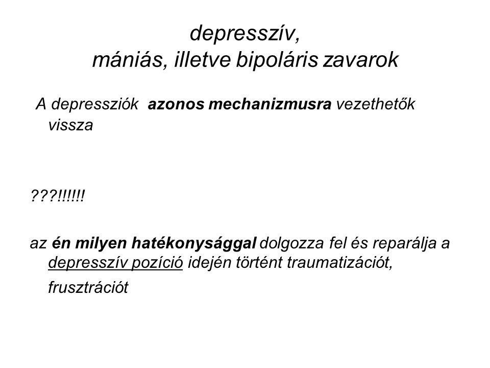 depresszív, mániás, illetve bipoláris zavarok