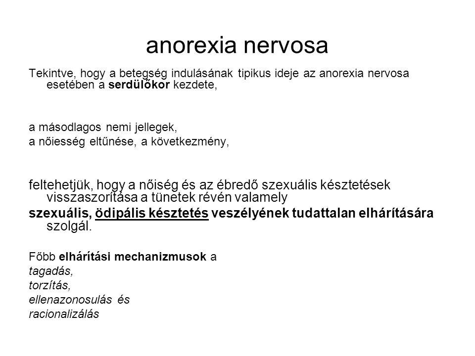 anorexia nervosa Tekintve, hogy a betegség indulásának tipikus ideje az anorexia nervosa esetében a serdülőkor kezdete,