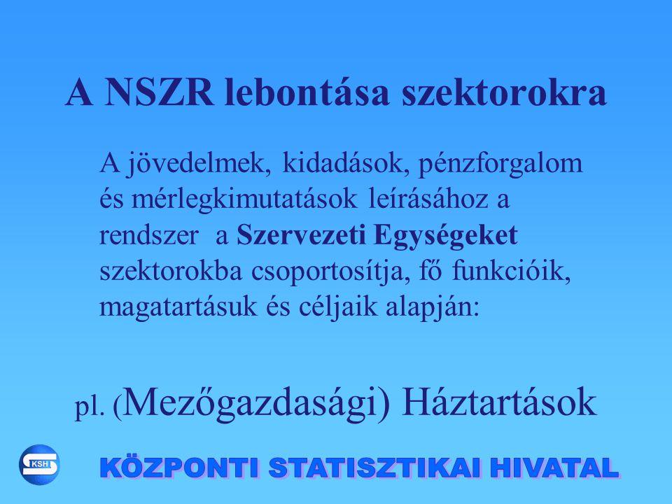 A NSZR lebontása szektorokra