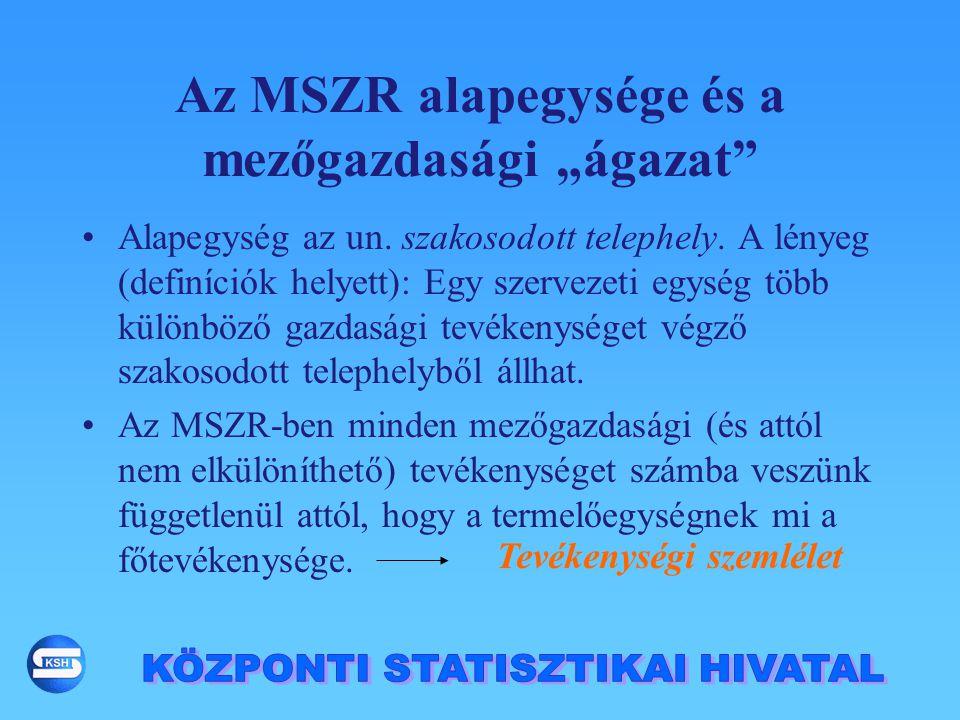 """Az MSZR alapegysége és a mezőgazdasági """"ágazat"""