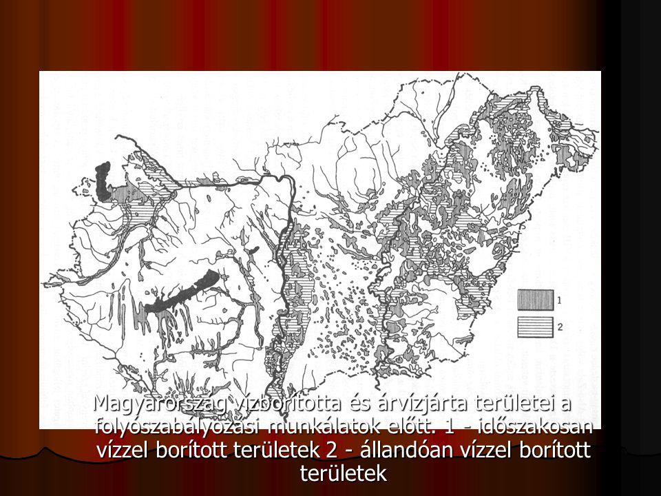 Magyarország vízborította és árvízjárta területei a folyószabályozási munkálatok előtt.