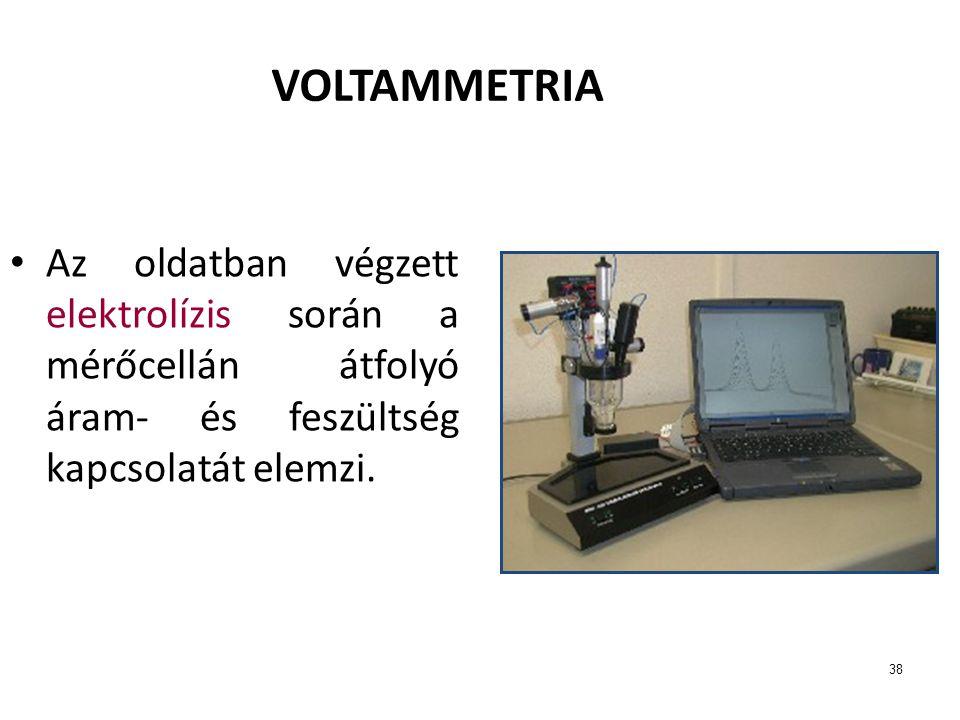 VOLTAMMETRIA Az oldatban végzett elektrolízis során a mérőcellán átfolyó áram- és feszültség kapcsolatát elemzi.
