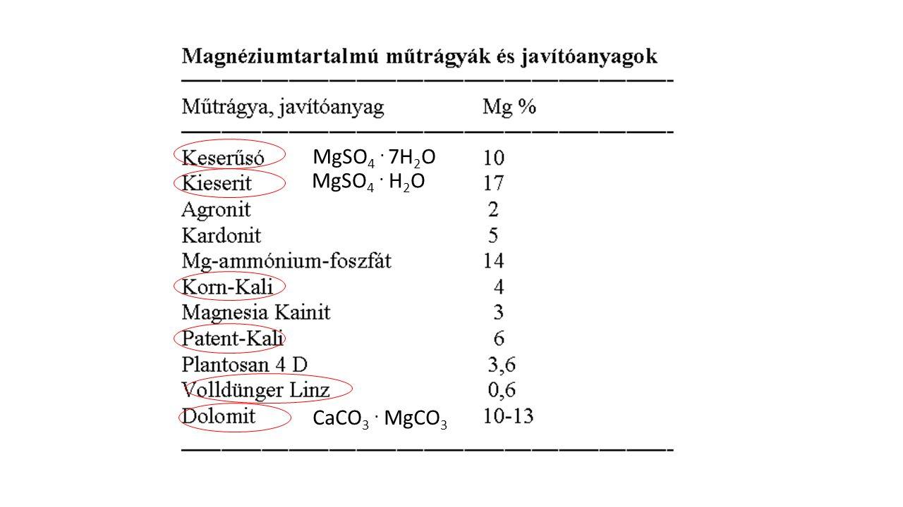 MgSO4 . 7H2O MgSO4 . H2O CaCO3 . MgCO3 5