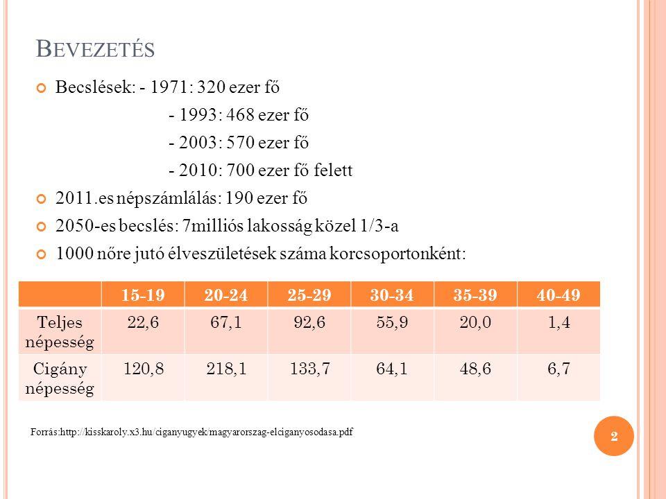 Bevezetés Becslések: - 1971: 320 ezer fő - 1993: 468 ezer fő