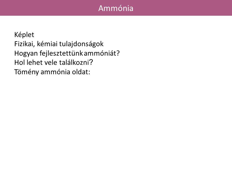 Ammónia Képlet Fizikai, kémiai tulajdonságok